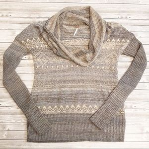 Free People Fair Isle Cowl Neck Sweater